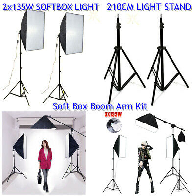 Photography Studio Softbox Continuous Video Lighting Light Boom Arm Stand Kit AU