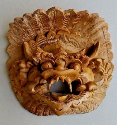 Wooden Indonesian Mask With Detailed Carving