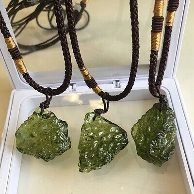 Natural Green GEM MOLDAVITE Meteorite Impact Crystal Czech Necklace Pendant