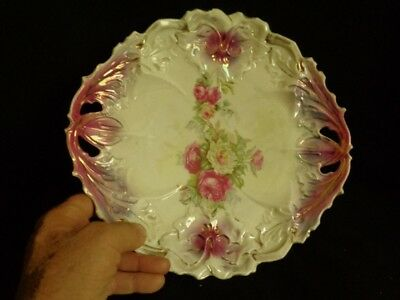"Hand Painted Cake Plate ""IPF Germany""  10 1/2"" Across Porcelain"