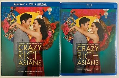 Crazy Rich Asians Blu Ray Dvd 2 Disc Set + Slipcover Sleeve Free World Shipping