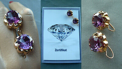 S7VW Vintage Ohrringe Amethyst 585 Gold Damen Schmuck earrings Expertise Lemgo
