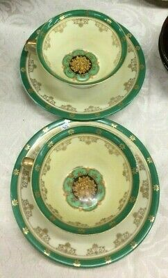 German Yellow Luster Ware TeaCup Saucer Medallion and gold Ribbon. Early 1900s