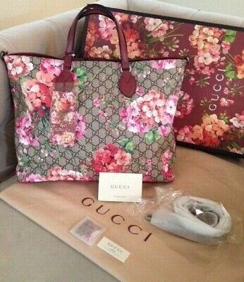 fef71d5683a New Gucci GG Blooms Floral Supreme Canvas Leather Tote Shoulder Bag Rose  NWT!