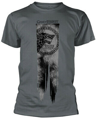 Game Of Thrones 'Stark Flag - Winter Is Coming' (Grey) T-Shirt - NEW & OFFICIAL!