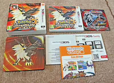 *no Game* Limited Edition Pokemon Ultra Sun Steel Book + Case Nintendo 3Ds 2Ds