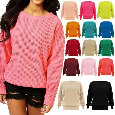 Womens Ladies Long Sleeve Plain Oversized  Baggy Chunky Knitted Jumper Sweater