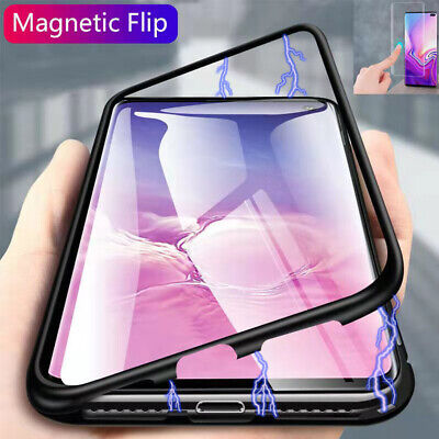 For Samsung Galaxy S10 Plus Magnetic Adsorption Metal Case Tempered Glass Cover