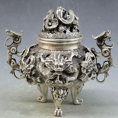 China handmade antique Tibetan silver 3 foot 9 dragon Incense Burners