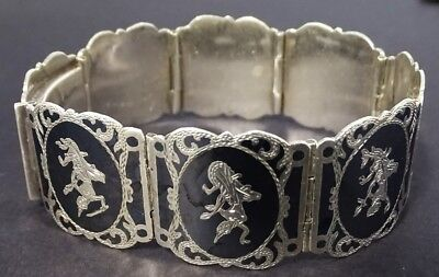 STUNNING Siam Silver Bracelet with GORGEOUS Dancing Women
