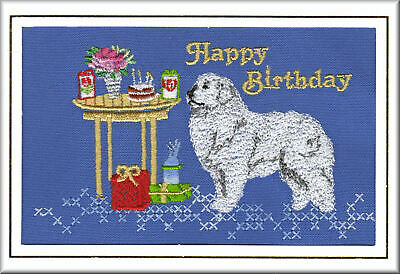 PYRENEAN MOUNTAIN DOG Birthday Card by Dogmania Embroidery FREE PERSONALISATION