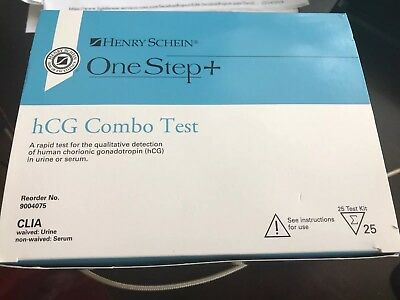 henry schein hcg rapid combo blood urine test 25 new sealed Brand New
