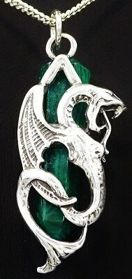Exquisite Ladies Sterling Silver DRAGON & MALACHITE Gemstone Pendant Great Gift