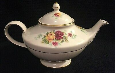 Vintage Arthur Wood & Son Staffordshire England 5959 Pink & Yellow Roses Teapot