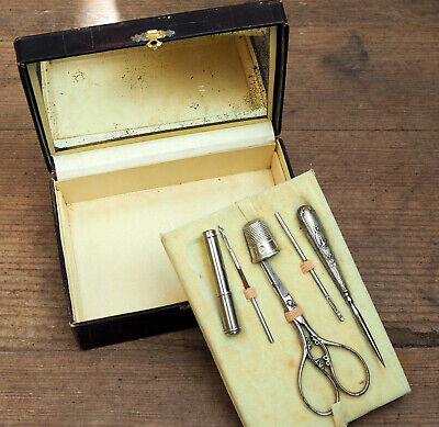 antique French silver metal sewing set needle case  1920s art deco