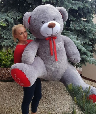 190 cm ! GIANT TEDDY BEAR LARGE BIG HUGE STUFFED GREY BIRTHDAY WEDDING  GIFT !