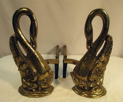 Pair Vintage Brass SWAN Fireplace Andirons Firedogs Antique Hollywood Regency