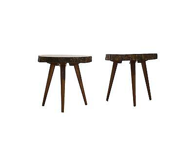 Dutch Colony Mahogany Tree Trunk Slice Side Tables, Surinam 1952 Vintage Design