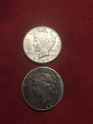 Lot of (2) Peace Silver Dollars 1923-S & 1923-S Two 90% Silver $1 US Coins