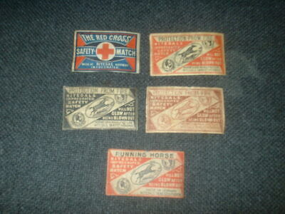 5 X Vintage Matchbox Labels From Norway 1920S