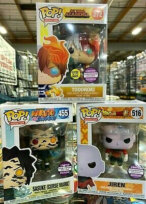 Funko Pop 372 Todoroki 516 Jiren 455 Sasuke Curse Mark Convention Exclusive Set