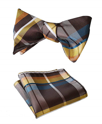 Mens Plaid Jacquard Woven Self Bow Tie Set One Size Yellow / Brown