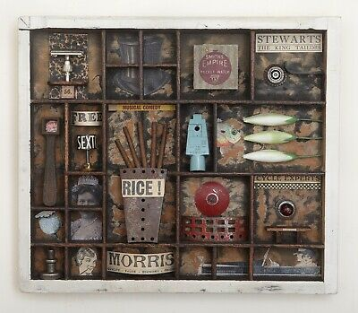 Wonderful Quirky Assemblage Artwork in Old Printers Tray Cabinet - 'Rice'