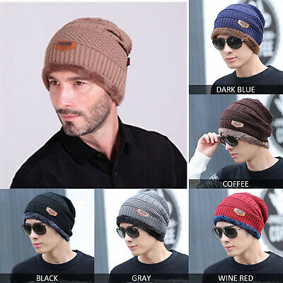 e40b901f882 Men Women Winter Hats Thick Lining Crochet Knit Baggy Beanie Wool Skull Ski  Caps