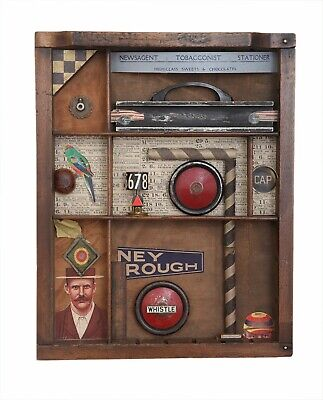 Wonderful Quirky Assemblage Artwork in Old Printers Tray Cabinet - 'Ney Rough'