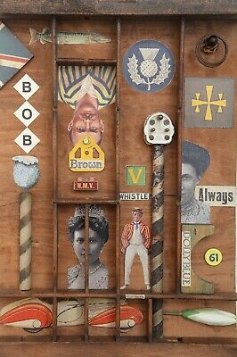 Wonderful Quirky Assemblage Artwork in Old Printers Tray Cabinet - 'Bob Brown'