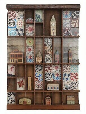 Lovely Little Collection of Miniature Wooden Houses in Antique Printers Tray