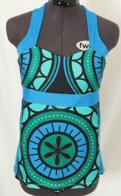 8d7cf9cb10445 Moxie Blue Green Cycling Jersey Padded Fitted Racerback Tank Top Women s S