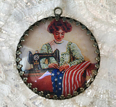 WOMAN SEWING AMERICAN FLAG ~ XL ROUND  35mm PENDANT Filigree VINTAGE PATRIOTIC