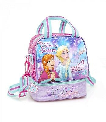 Disney Frozen PREMIUM Double Cooler Insulated Lunch Bag Thermal ONE HEART