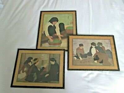 Set of 3 vintage Chinese pictures