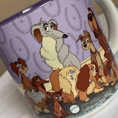 Disney Lady and the Tramp Dogs Ceramic Coffee Mug Retired Collectible Rare Cup