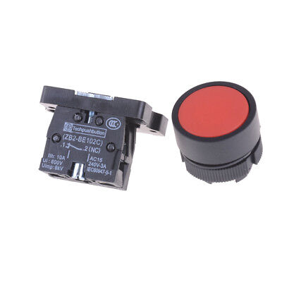 22mm 1 NC N/C Red Sign Momentary Push Button Switch 600V 10A ZB2-EA42 TO