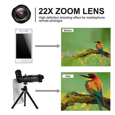 Adjustable Travel 22x Zoom Clip Telephoto Lens +Tripod Kit for Smartphone T7F8