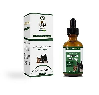 Hemp Oil for Dogs & Cats - 250MG - 100% Organic - Dog & Car Anxiety:Pain Relief