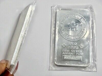 10 oz RCM SILVER BAR .9999 - SEALED - ROYAL CANADIAN MINT in PROTECTIVE SLEEVE