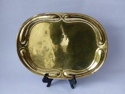 Arts & Crafts in the Art Nouveau Style Brass Salver, Hand Beaten Salver/Tray
