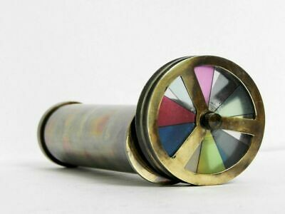 Antique Polished Brass Nautical Maritime Double Wheel Collectible Kaleidoscope