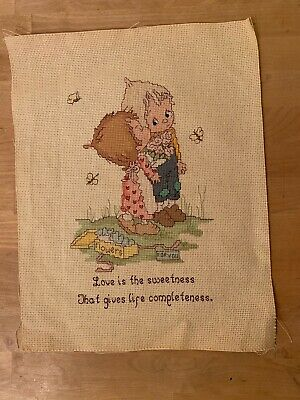 """Betsey Clark Completed Needlepoint Cross Stitch - Love is the Sweetness 14""""x11"""""""