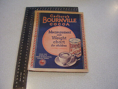 1936 Cadburys Bournville Cocoa fold out hight chart