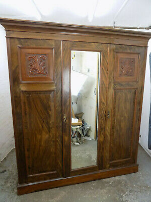 tripple,compactum,wardrobe,mirror,shelves,drawers,breakdown,antique,mahogany