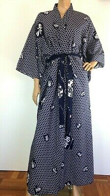 Japanese Kimono Robe 100% Cotton Full length Fits sizes Small Medium & Large