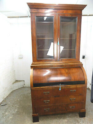 mahogany,roll top,desk,bookcase,glazed doors,shelves,drawers,antique,edwardian