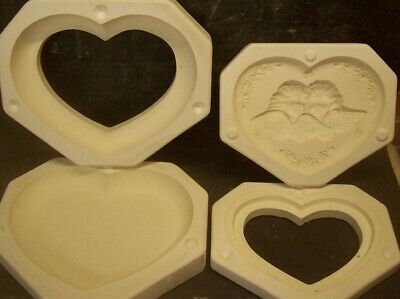CERAMIC MOLD MOLDS VICTORIAN ANGELS HEART BOX WITH LID Dona 1268 1269