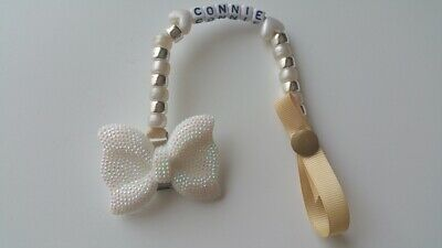 Baby Girl boy Silver Grey Dummy  Chain Holder Satin Clip  Bow choice avail