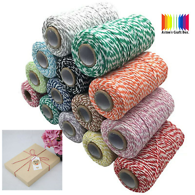 2ply Premium Cotton Bakers Twine 1,3 or 5m 1.5mm String Textile Twisted